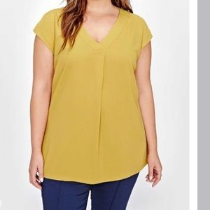 Michel Studio Mustard Yellow Sleeveless Blouse